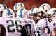 Sep 12, 2013; Ruston, LA, USA; Tulane Green Wave quarterback Nick Montana (11) calls a play in the huddle against the Louisiana Tech Bulldogs in the third quarter at Joe Aillet Stadium. Tulane won, 24-15. Mandatory Credit: Chuck Cook-USA TODAY Sports
