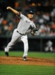 Sep 10, 2013; Baltimore, MD, USA; New York Yankees starting pitcher Ivan Nova (47) throws in the third inning against the Baltimore Orioles at Oriole Park at Camden Yards. The Yankees defeated the Orioles 7-5. Mandatory Credit: Joy R. Absalon-USA TODAY Sports