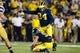 Sep 7, 2013; Ann Arbor, MI, USA; Michigan Wolverines kicker Brendan Gibbons (34) kicks a field goal against the Notre Dame Fighting Irish at Michigan Stadium. Mandatory Credit: Rick Osentoski-USA TODAY Sports
