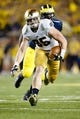 Sep 7, 2013; Ann Arbor, MI, USA; Notre Dame Fighting Irish tight end Troy Niklas (85) runs the ball against the Michigan Wolverines at Michigan Stadium. Mandatory Credit: Rick Osentoski-USA TODAY Sports