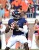 Sep 7, 2013; Charlottesville, VA, USA; Virginia Cavaliers quarterback David Watford (5) looks to pass at Scott Stadium. Mandatory Credit: Bob Donnan-USA TODAY Sports
