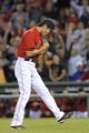 Sep 13, 2013; Boston, MA, USA; Boston Red Sox relief pitcher Koji Uehara (19) reacts after defeating the New York Yankees at Fenway Park. Mandatory Credit: Bob DeChiara-USA TODAY Sports