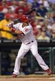 Sep 11, 2013; Philadelphia, PA, USA; Philadelphia Phillies center fielder Cesar Hernandez (16) during an at bat during the first inning against the San Diego Padres at Citizens Bank Park. The Phillies defeated the Padres 4-2. Mandatory Credit: Howard Smith-USA TODAY Sports