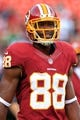 Sep 9, 2013; Landover, MD, USA; Washington Redskins wide receiver Pierre Garcon (88) stands on the field during warm ups prior to the Redskins game against the Philadelphia Eagles at FedEx Field. Mandatory Credit: Geoff Burke-USA TODAY Sports