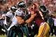 Sep 9, 2013; Landover, MD, USA; Philadelphia Eagles tight end Brent Celek (87) blocks Washington Redskins linebacker Ryan Kerrigan (91) at FedEx Field. Mandatory Credit: Geoff Burke-USA TODAY Sports