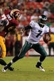 Sep 9, 2013; Landover, MD, USA; Philadelphia Eagles quarterback Michael Vick (7) runs with the ball against the Washington Redskins at FedEx Field. Mandatory Credit: Geoff Burke-USA TODAY Sports