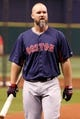 Sep 11, 2013; St. Petersburg, FL, USA; Boston Red Sox catcher David Ross (3) works out prior to the game against the Tampa Bay Rays at Tropicana Field. Mandatory Credit: Kim Klement-USA TODAY Sports