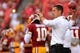 Sep 9, 2013; Landover, MD, USA; Washington Redskins offensive coordinator Kyle Shanahan throws a ball during warm ups prior to the Redskins game against the Philadelphia Eagles at FedEx Field. Mandatory Credit: Geoff Burke-USA TODAY Sports
