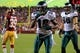 Sep 9, 2013; Landover, MD, USA; Philadelphia Eagles wide receiver DeSean Jackson (10) celebrates after scoring a touchdown against the Washington Redskins at FedEx Field. Mandatory Credit: Geoff Burke-USA TODAY Sports