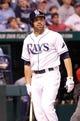 Sep 11, 2013; St. Petersburg, FL, USA; Tampa Bay Rays left fielder David DeJesus (7) at bat against the Boston Red Sox at Tropicana Field. Mandatory Credit: Kim Klement-USA TODAY Sports