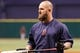 Sep 11, 2013; St. Petersburg, FL, USA; Boston Red Sox first baseman Mike Napoli (12) works out prior to the game against the Tampa Bay Rays at Tropicana Field. Mandatory Credit: Kim Klement-USA TODAY Sports