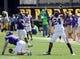 Sep 14, 2013; Greenville, NC, USA;  Virginia Tech Hokies linebacker Tariq Edwards (24) celebrates a first half sack of East Carolina Pirates quarterback Shane Carden (5) at Dowdy-Ficklen Stadium. Mandatory Credit: Rob Kinnan-USA TODAY Sports