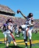 Sep 14, 2013; Greenville, NC, USA;  Virginia Tech Hokies receiver D.J. Coles (18) is lifted by teammate Duan Perez-Means (81) and points to fans after scoring a touchdown during the second half against the East Carolina Pirates at Dowdy-Ficklen Stadium.  Virginia Tech won 15-10. Mandatory Credit: Rob Kinnan-USA TODAY Sports