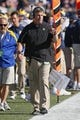 Sep 14, 2013; Annapolis, MD, USA; Delaware Blue Hens head coach Dan Brock talks to an official during the game against the Navy Midshipmen at Navy Marine Corps Memorial Stadium. Mandatory Credit: Mitch Stringer-USA TODAY Sports