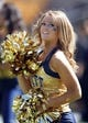 Sep 14, 2013; Pittsburgh, PA, USA; Pittsburgh Panthers cheerleader entertains the crowd before the game against the New Mexico Lobos at Heinz Field. The Pittsburgh Panthers won 49-27. Mandatory Credit: Charles LeClaire-USA TODAY Sports