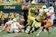 Sep 14, 2013; Eugene, OR, USA; Oregon Ducks tight end John Mundt (83) runs the ball against the Tennessee Volunteers at Autzen Stadium. Mandatory Credit: Scott Olmos-USA TODAY Sports