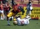 Sep 14, 2013; Los Angeles, CA, USA; Southern California Trojans receiver Nelson Agholor (15) is tackled by Boston College Eagles linebacker Josh Keyes (25) at Los Angeles Memorial Coliseum. USC defeated Boston College 35-7. Mandatory Credit: Kirby Lee-USA TODAY Sports