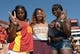 Sep 14, 2013; Los Angeles, CA, USA; Southern California Trojans fans Vanessa Jones (left) , Melia Cox (center) and Kemi Olonade pose during the game against the Boston College Eagles at Los Angeles Memorial Coliseum. USC defeated Boston College 35-7. Mandatory Credit: Kirby Lee-USA TODAY Sports