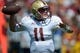 Sep 14, 2013; Los Angeles, CA, USA; Boston College Eagles quarterback Chase Rettig (11) throws a pass against the Southern California Trojans at Los Angeles Memorial Coliseum. Mandatory Credit: Kirby Lee-USA TODAY Sports