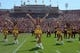 Sep 14, 2013; Los Angeles, CA, USA; Los Angeles Lakers girls cheerleaders perform during the NCAA football game between the Boston College Eagles and the Southern California Trojans at Los Angeles Memorial Coliseum.  Mandatory Credit: Kirby Lee-USA TODAY Sports
