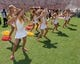 Sep 14, 2013; Los Angeles, CA, USA; Southern California Trojans song girls cheerleaders perform during the game against the Boston College Eagles at Los Angeles Memorial Coliseum. Mandatory Credit: Kirby Lee-USA TODAY Sports