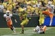 Sep 14, 2013; Eugene, OR, USA; Oregon Ducks tight end John Mundt (83) runs the ball in the second half against the Tennessee Volunteers at Autzen Stadium. Mandatory Credit: Scott Olmos-USA TODAY Sports