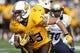 Sep 14, 2013; Laramie, WY, USA; Wyoming Cowboys wide receiver Dominic Rufran (33) runs against the Northern Colorado Bears during the third quarter at War Memorial Stadium. Mandatory Credit: Troy Babbitt-USA TODAY Sports