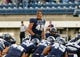 Sep 14, 2013; Logan, UT, USA; Utah State Aggies defensive end Paul Piukala (48) pumps the team up before the game against Weber State Wildcats at Romney Stadium. Mandatory Credit: Chris Nicoll-USA TODAY Sports