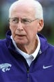 Sep 14, 2013; Manhattan, KS, USA; Kansas State Wildcats head coach Bill Snyder watches his team warm up before the start of a game against the Massachusetts Minutemen at Bill Snyder Family Stadium. Mandatory Credit: Scott Sewell-USA TODAY Sports