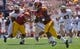 Sep 14, 2013; Los Angeles, CA, USA; USC Trojans running back Tre Madden (23) carries the ball during first half action in the Trojans' 35-7 win against Boston College at Los Angeles Memorial Coliseum. Mandatory Credit: Robert Hanashiro-USA TODAY Sports