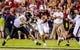 Sep 14, 2013; Columbia, SC, USA; South Carolina Gamecocks quarterback Dylan Thompson (17) scrambles for yardage as Vanderbilt Commodores defensive end Jimmy Stewart (54) pursues in the second quarter at Williams-Brice Stadium. Mandatory Credit: Jeff Blake-USA TODAY Sports