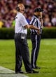 Sep 14, 2013; Columbia, SC, USA; Vanderbilt Commodores head coach James Franklin directs his team against the South Carolina Gamecocks in the second quarter at Williams-Brice Stadium. Mandatory Credit: Jeff Blake-USA TODAY Sports