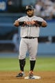 Sep 14, 2013; Los Angeles, CA, USA; San Francisco Giants third baseman Pablo Sandoval (48) reacts after hitting a double against the Los Angeles Dodgers during the second inning at Dodger Stadium. Mandatory Credit: Kelvin Kuo-USA TODAY Sports