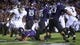 Sep 14, 2013; Evanston, IL, USA; Northwestern Wildcats quarterback Kain Colter (2) dives into the end zone for a touchdown against the Western Michigan Broncos during the second quarter at Ryan Field. Mandatory Credit: Jerry Lai-USA TODAY Sports