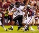 Sep 14, 2013; Columbia, SC, USA; Vanderbilt Commodores running back Wesley Tate (24) rushes for a touchdown against the South Carolina Gamecocks in the second half at Williams-Brice Stadium. Mandatory Credit: Jeff Blake-USA TODAY Sports