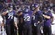 Sep 14, 2013; Evanston, IL, USA; Northwestern Wildcats running back Treyvon Green (22) celebrates with teammates after scoring a touchdown during the third quarter against the Western Michigan Broncos at Ryan Field. Mandatory Credit: Jerry Lai-USA TODAY Sports