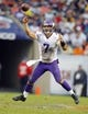 Sep 15, 2013; Chicago, IL, USA; Minnesota Vikings quarterback Christian Ponder (7) throws a pass during the second half against the Chicago Bears at Soldier Field. Chicago won 31-30. Mandatory Credit: Dennis Wierzbicki-USA TODAY Sports