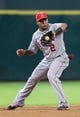 Sep 15, 2013; Houston, TX, USA; Los Angeles Angels shortstop Erick Aybar (2) fields a ground ball during the sixth inning against the Houston Astros at Minute Maid Park. Mandatory Credit: Troy Taormina-USA TODAY Sports