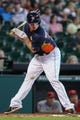 Sep 15, 2013; Houston, TX, USA; Houston Astros third baseman Matt Dominguez (30) is hit by a pitch during the fourth inning against the Los Angeles Angels at Minute Maid Park. Mandatory Credit: Troy Taormina-USA TODAY Sports