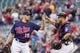 Sep 15, 2013; Minneapolis, MN, USA; The Minnesota Twins pitcher Glen Perkins (15) and catcher Josmil Pinto (43) celebrate after their win in the ninth inning against the Tampa Bay Rays at Target Field. Twins win 6-4. Mandatory Credit: Brad Rempel-USA TODAY Sports