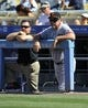 September 15, 2013; Los Angeles, CA, USA; San Francisco Giants manager Bruce Bochy (15) watches game action during the fourth inning against the Los Angeles Dodgers at Dodger Stadium. Mandatory Credit: Gary A. Vasquez-USA TODAY Sports