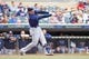 Sep 15, 2013; Minneapolis, MN, USA; The Tampa Bay Rays third baseman Evan Longoria (3) flies out to right field in the first inning against the Minnesota Twins at Target Field. Twins win 6-4. Mandatory Credit: Brad Rempel-USA TODAY Sports