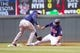 Sep 15, 2013; Minneapolis, MN, USA; The Tampa Bay Rays shortstop Yunel Escobar (11) tags out Minnesota Twins infielder Eduardo Escobar (5) at second base in the third inning at Target Field. Mandatory Credit: Brad Rempel-USA TODAY Sports