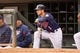 Sep 15, 2013; Minneapolis, MN, USA; The Minnesota Twins outfielder Alex Presley (1) watches the pitching from the dugout in the third inning against the Tampa Bay Rays at Target Field. Twins win 6-4. Mandatory Credit: Brad Rempel-USA TODAY Sports