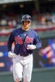 Sep 15, 2013; Minneapolis, MN, USA; The Minnesota Twins designated hitter Ryan Doumit (9) rounds third base after his home run in the eighth inning against the Tampa Bay Rays at Target Field. Twins win 6-4. Mandatory Credit: Brad Rempel-USA TODAY Sports
