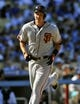 September 15, 2013; Los Angeles, CA, USA; San Francisco Giants first baseman Brett Pill (6) runs the bases after hitting a solo home run in the seventh inning against the Los Angeles Dodgers at Dodger Stadium. Mandatory Credit: Gary A. Vasquez-USA TODAY Sports