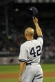 Sep 15, 2013; Boston, MA, USA; New York Yankees relief pitcher Mariano Rivera (42) acknowledges the fans during a ceremony prior to a game against the Boston Red Sox at Fenway Park. Mandatory Credit: Bob DeChiara-USA TODAY Sports