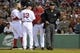 Sep 15, 2013; Boston, MA, USA; Boston Red Sox first baseman Mike Napoli (12) is ejected from the game by home plate umpire Ron Kulpa (46) during the sixth inning against the New York Yankees at Fenway Park. Mandatory Credit: Bob DeChiara-USA TODAY Sports