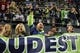 Sep 15, 2013; Seattle, WA, USA; Seattle Seahawks fan Chris Wright (in green sleeve) cheers his team against the San Francisco 49ers during the fourth quarter at CenturyLink Field. Mandatory Credit: Joe Nicholson-USA TODAY Sports