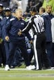 Sep 15, 2013; Seattle, WA, USA; Seattle Seahawks head coach Pete Carroll argues with umpire Steve Wilson (29) after call during the 1st half between the Seattle Seahawks and the San Francisco 49ers at CenturyLink Field. Seattle defeated San Francisco 29-3. Mandatory Credit: Steven Bisig-USA TODAY Sports